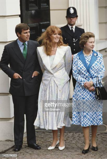 Queen Elizabeth II with the Duke and Duchess of York outside Clarence House in London for the Queen Mother's 86th birthday 4th August 1986