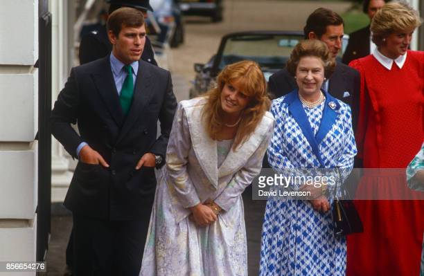 Queen Elizabeth II with the Duke and Duchess of York the Prince and Princess of Wales outside Clarence House in London for the Queen Mother's 86th...