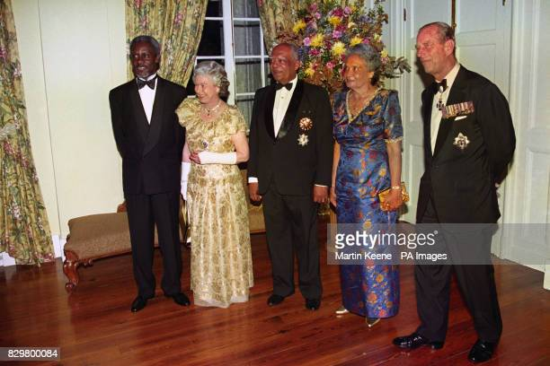 Queen Elizabeth II with the Duke of Edinburgh Jamaican Prime Minister Percival Patterson left Governor General Sir Howard Cooke and his wife Ivy at...