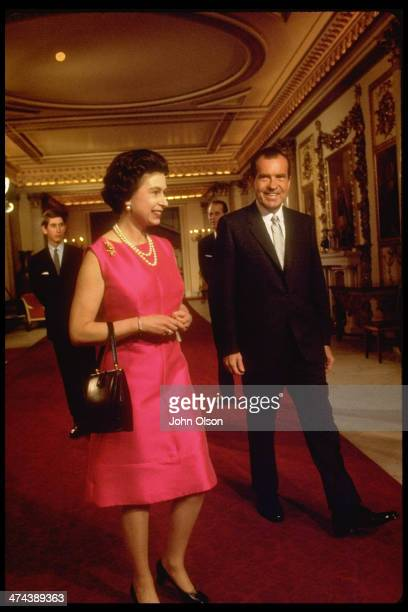 Queen Elizabeth II with US President Richard Nixon followed by Princes Charles and Philip at Buckingham Palace London 25th February 1969