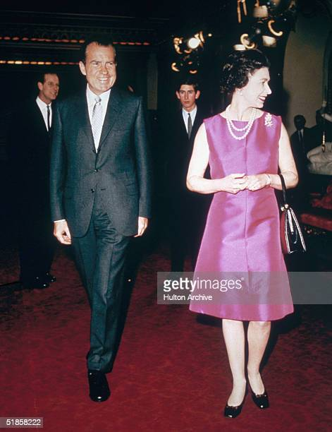 Queen Elizabeth II with US President Richard Nixon followed by Princes Philip and Charles 1969