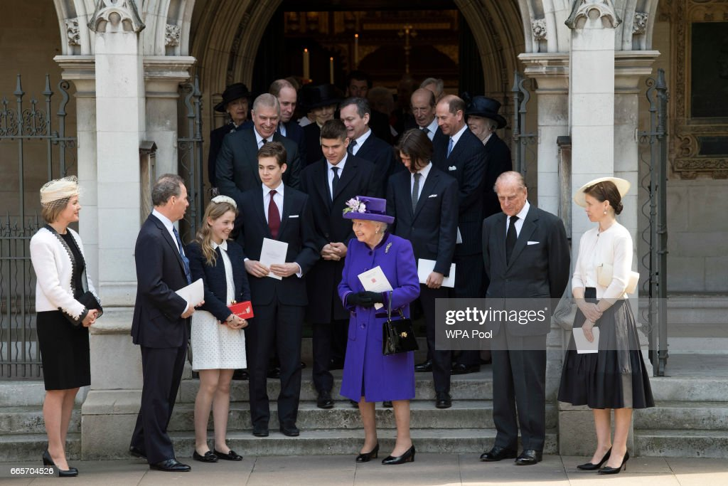 Queen Elizabeth II with (2R) with (L-R) Serena Armstrong-Jones, Countess of Snowdon, David Armstrong-Jones, Lady Margarita Armstrong-Jones, Prince Philip, Duke of Edinburgh and Lady Sarah Chatto leave a Service of Thanksgiving for the life and work of Lord Snowdon at Westminster Abbey on April 7, 2017 in London, United Kingdom.