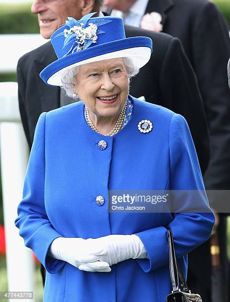 Queen Elizabeth in the parade ring on day 2 of Royal Ascot at Ascot Racecourse on June 17 2015 in Ascot England