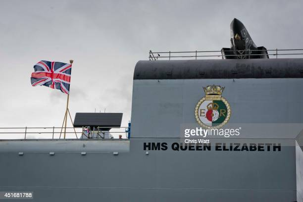 Queen Elizabeth is pictured ahead of Queen Elizabeth II officially naming the Royal Navy's new aircraft carrier HMS Queen Elizabeth on July 4 2014 in...