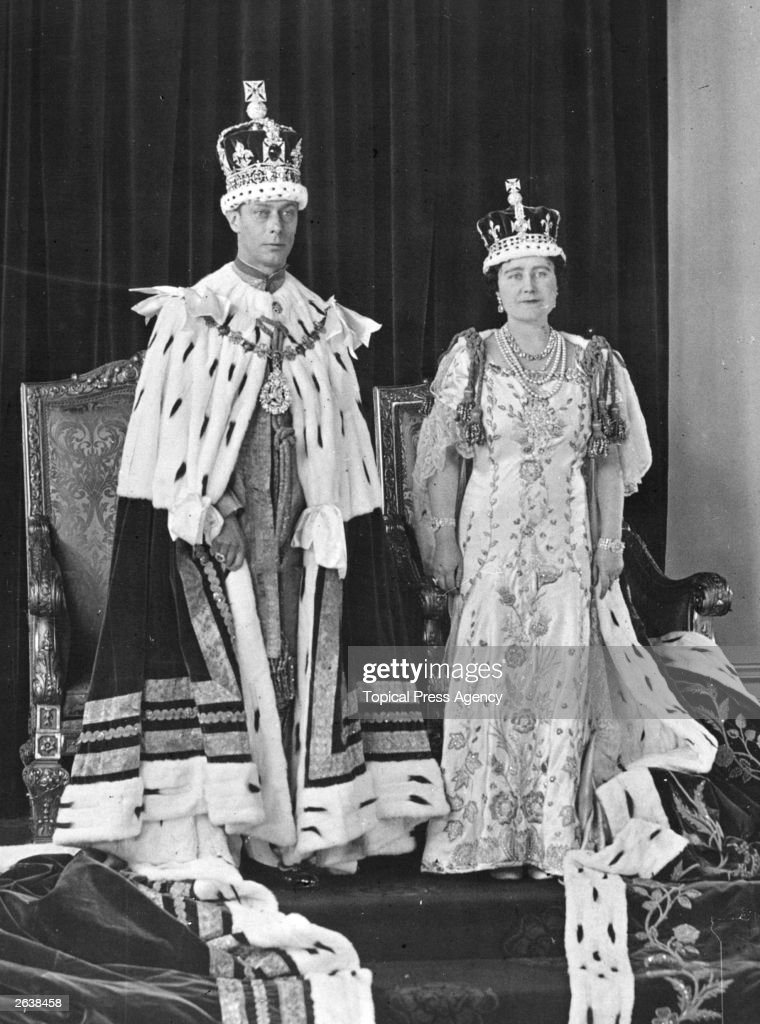 Queen Elizabeth (1900 - 2002), later the Queen Mother with King George VI (1895 - 1952) at his Coronation; both are wearing ceremonial robes.