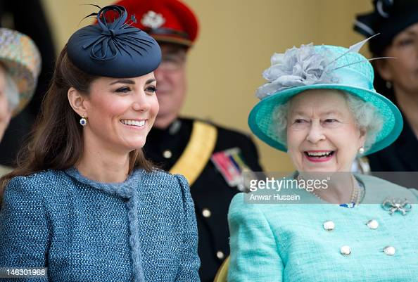 Queen Elizabeth ll and Catherine Duchess of Cambridge visit Vernon Park during a Diamond Jubilee visit to Nottingham on June 13 2012 in Nottingham...