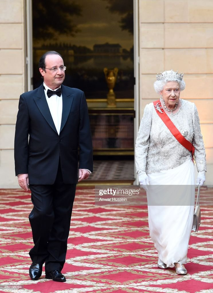 Queen Elizabeth ll and French President Francois Hollande arrive for a State Banquet at the Elysee Palace on June 6, 2014 in Paris, France.