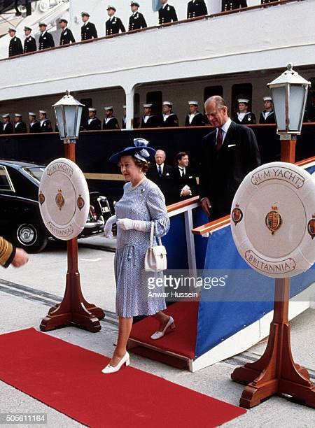 Queen Elizabeth ll and Prince Philip Duke of Edinburgh arrive on the island of Jersey on the Royal Yacht Britannia during a visit to the Channel...