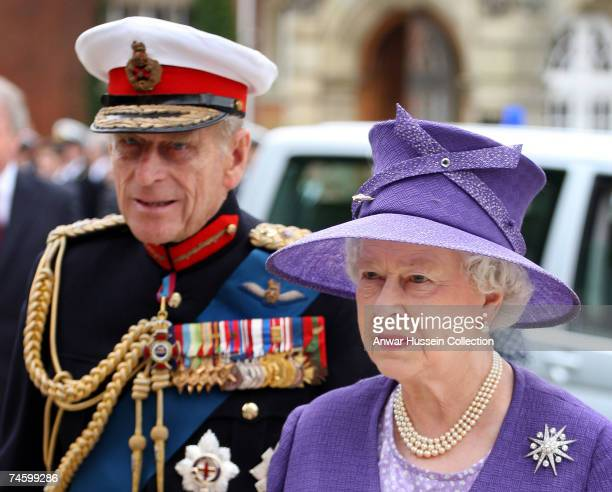 Queen Elizabeth ll and Prince Philip Duke of Edinburgh attend a memorial service commemorating 25 years since the Falklands conflict at the Falkland...