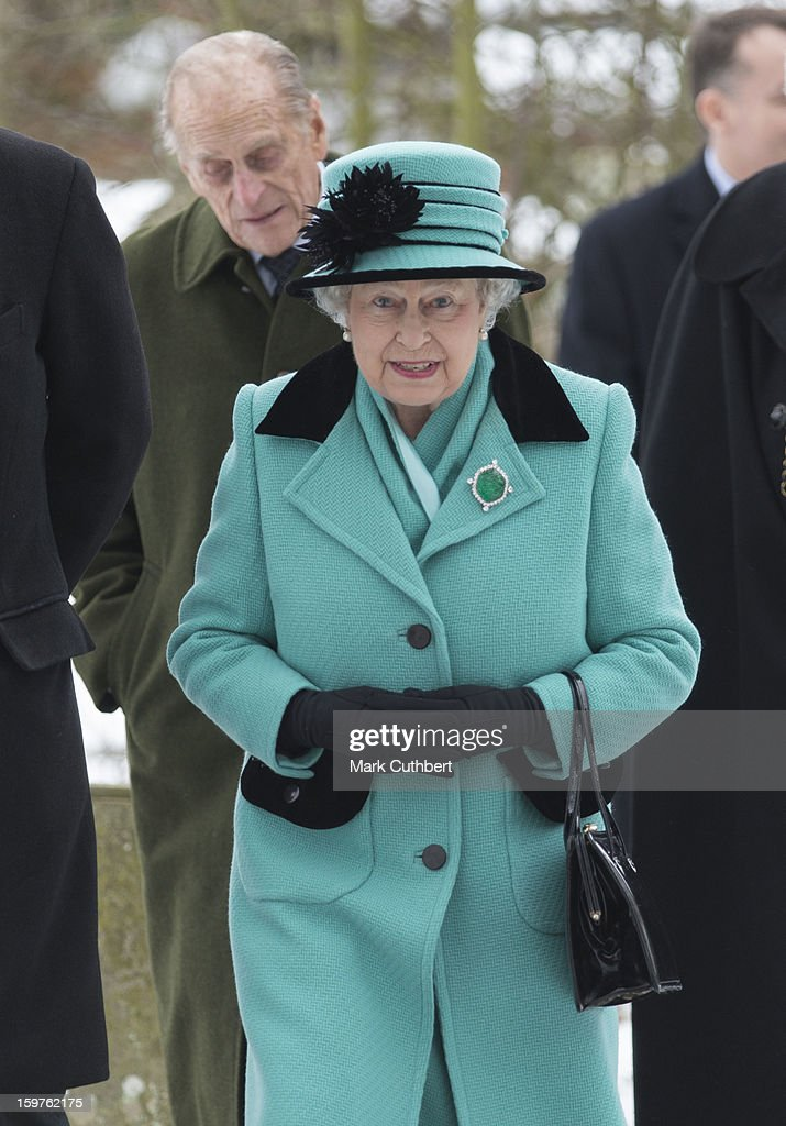 Queen Elizabeth ll and Prince Philip, Duke of Edinburgh attend a church service at Castle Rising near Sandringham on January 20, 2013 in King's Lynn, England.