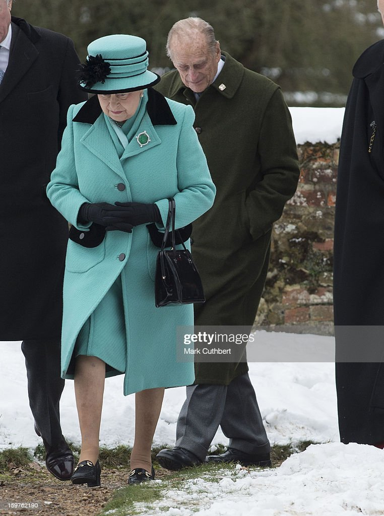 Queen Elizabeth ll and Prince Philip, Duke of Edinburgh attend a church service at Castle Rising near Sandringham on January 20, 2013 in King's Lynn, England.