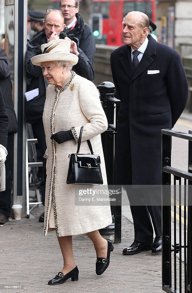 Queen Elizabeth ll and Prince Philip, Duke of Edinburgh make an official visit to Baker Street Underground Station on March 20, 2013 in London, England.