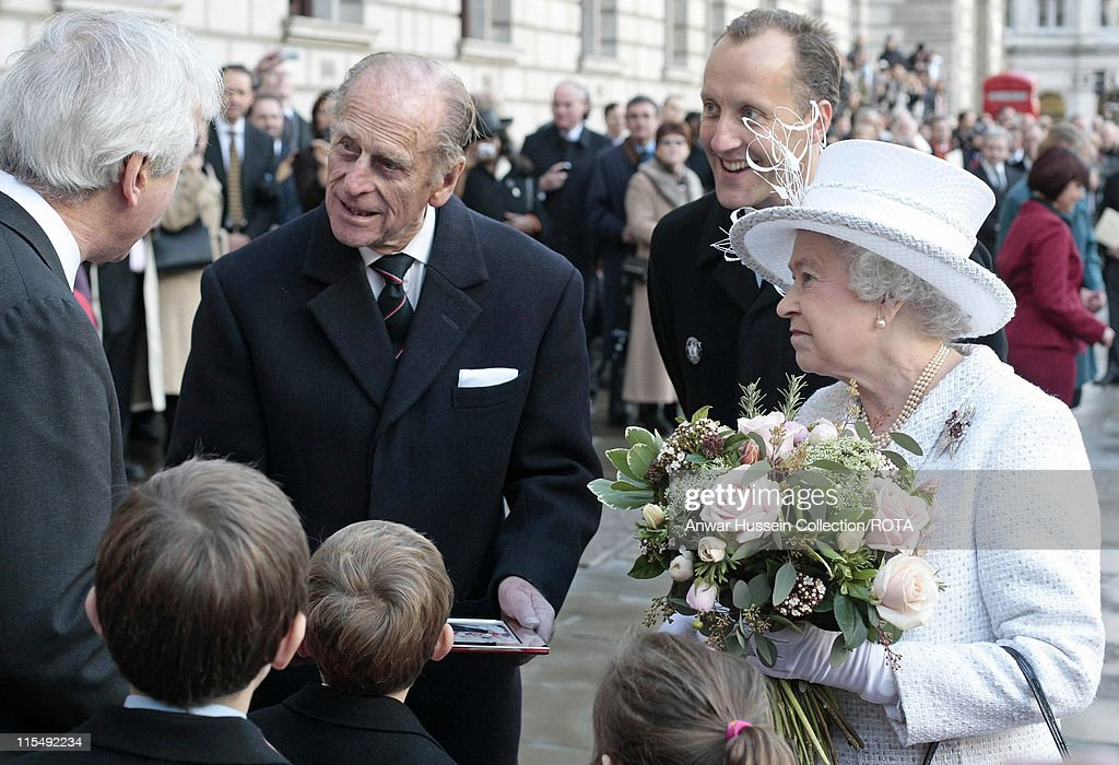 Queen Elizabeth ll and Prince Philip Duke of Edinburgh meet members of the public when they attend the unveiling of the Jubilee Walkway panel on...