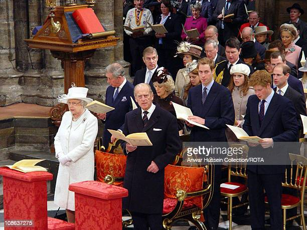 Queen Elizabeth ll and Prince Philip Duke of Edinburgh stand with members of the Royal Family at a service to celebrate their Diamond Wedding...