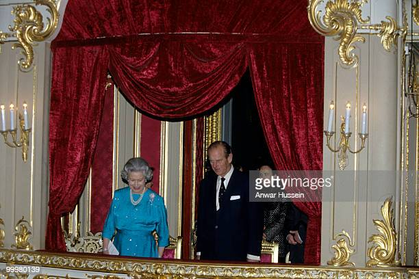 Queen Elizabeth ll and Prince Philip Duke of Edinburgh visit the theatre during an official visit to Russia in October 1994 in in St Petersburg Russia