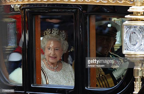 Queen Elizabeth ll and Prince Philip Duke pf Edinburgh arrive by coach at the House of Lords for the State Opening of Parliament on November 15 2006...