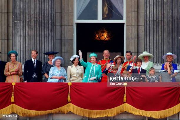 Queen Elizabeth Ll And Prince William Waving From The Balcony Of Buckingham Palace During Trooping The Colour The Queen's Official Birthday Countess...