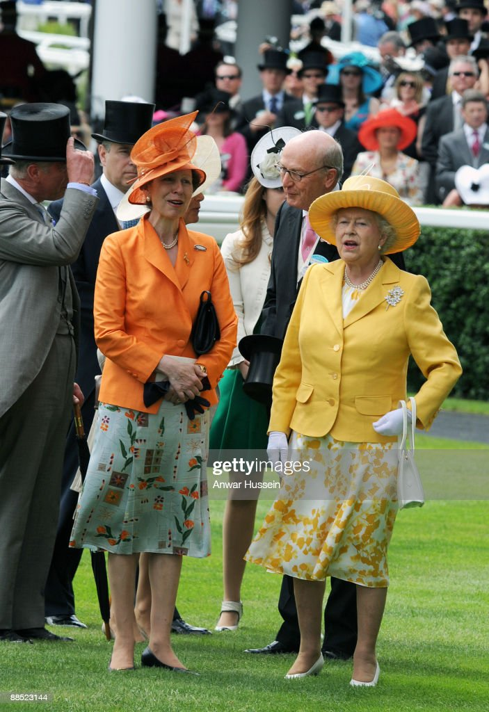 Queen Elizabeth ll and Princess Anne, Princess Royal attend the first day of Royal Ascot on June 16, 2009 in Ascot, England.