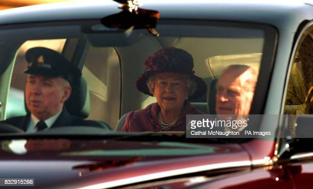 HRH Queen Elizabeth ll and the Duke of Edinburgh arrive for the Easter Sunday church service at StGeorge's Chapel Windsor Castle
