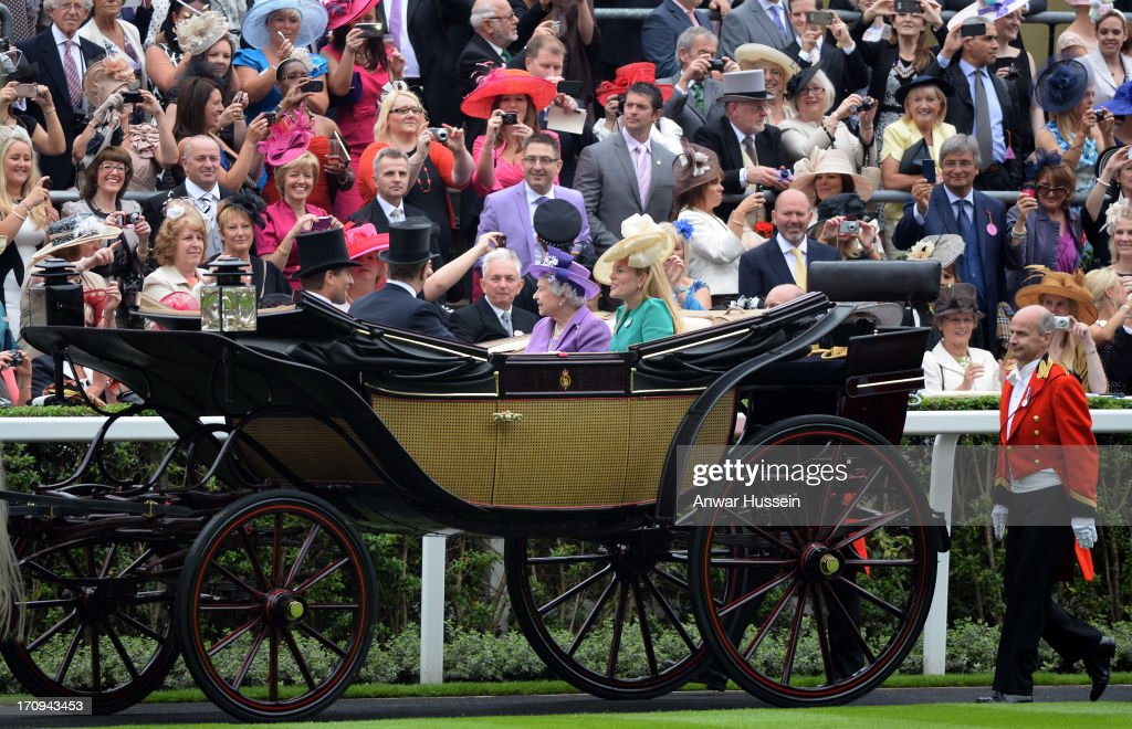 Queen Elizabeth ll arrives with <a gi-track='captionPersonalityLinkClicked' href=/galleries/search?phrase=Autumn+Phillips&family=editorial&specificpeople=728048 ng-click='$event.stopPropagation()'>Autumn Phillips</a>, <a gi-track='captionPersonalityLinkClicked' href=/galleries/search?phrase=Peter+Phillips&family=editorial&specificpeople=160043 ng-click='$event.stopPropagation()'>Peter Phillips</a> and Prince Andrew, Duke of York on Day 3 of Royal Ascot at Ascot Racecourse on June 20, 2013 in Ascot, England.