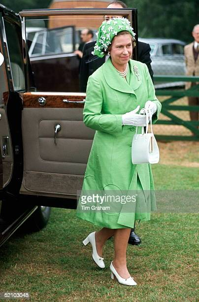 Queen Elizabeth Ll Arriving Polo At Smiths Lawn Windsor After Ascot Races Wearing A Silk Mint Green Coat And Matching Dress With A Green And White...