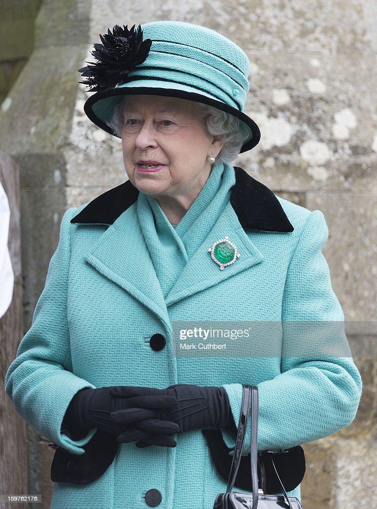 Queen Elizabeth ll attends a church service at Castle Rising near Sandringham on January 20, 2013 in King's Lynn, England.