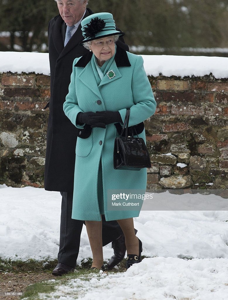 Queen Elizabeth ll attends a church service at Castle Rising near Sandringham on January 20, 2013 in King's Lynn, England.