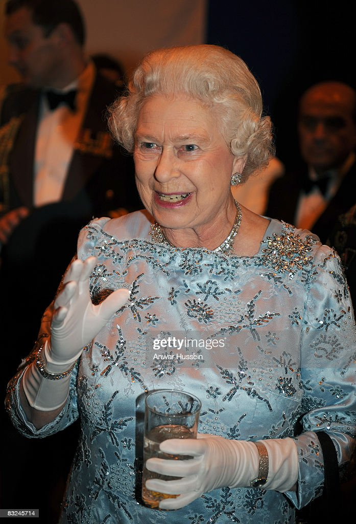 Queen Elizabeth ll attends a cocktail party on board HMS Illustrious on the third day of a State Visit to Turkey on May 15, 2008 in Istanbul, Turkey.