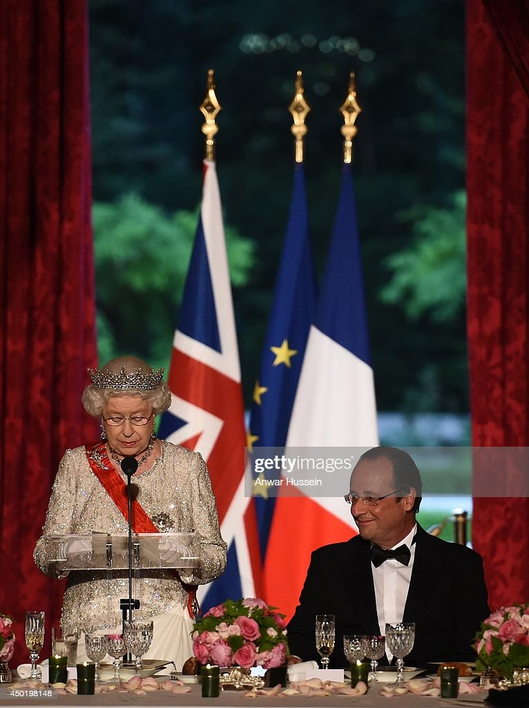 Queen Elizabeth ll delivers a speech during a State Banquet hosted by French President Francois Hollande at the Elysee Palace on June 6, 2014 in Paris, France.