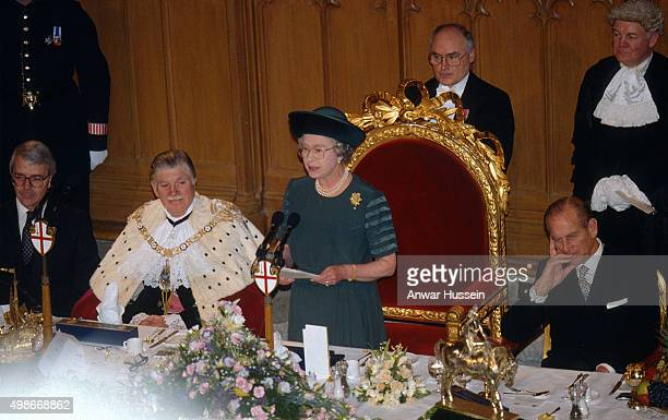 Queen Elizabeth ll delivers her 'Annus Horribilis' speech at the Guildhall and describes her sadness at the events of the year including the marriage...