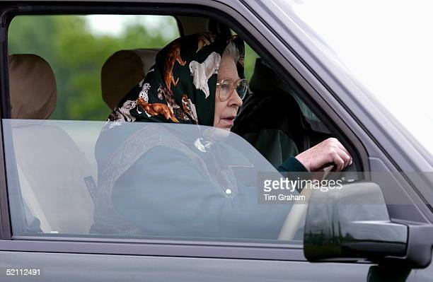 Queen Elizabeth Ll Driving Her Range Rover Four Wheel Drive Car To Watch Her Husband Competing In The Cross Country Section Of The International...