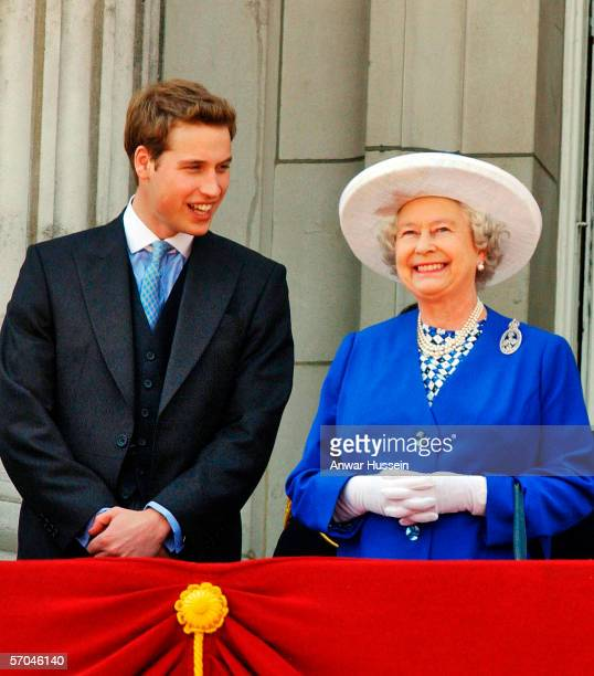 Queen Elizabeth ll laughs with her Grandson Prince William on the balcony at Buckingham PalaceLondonEngland while watching Trooping of the Colour on...