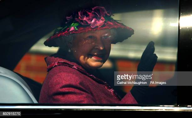 HRH Queen Elizabeth ll leaves the Easter Sunday church service held in StGeorge's Chapel Windsor Castle