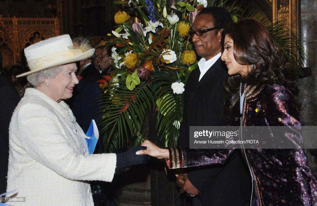 Queen Elizabeth ll meets Bollywood actress and 'Big Brother' star Shilpa Shetty at Westminster Abbey London at the annual Commonwealth Day Observance...