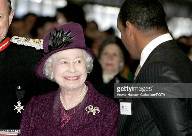 Queen Elizabeth ll meets MK Dons and manager manager and ex England footballer Paul Ince during a visit to the MK Stadium in Milton Keynes on...