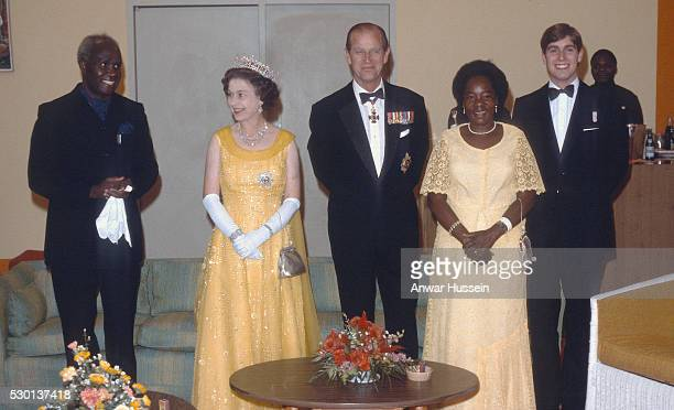 Queen Elizabeth ll Prince Philip Duke of Edinburgh and Prince Andrew attend a formal event with President Kenneth Kaunda and wife Betty Kaunda on...