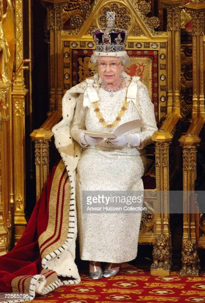 Queen Elizabeth ll reads the her speech at the State Opening of Parliament on November 15 2006 in London England