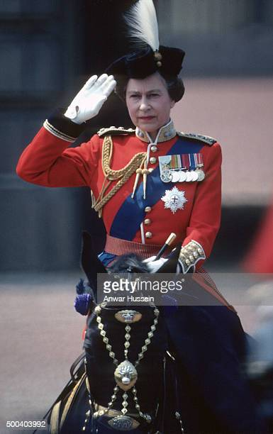 Queen Elizabeth ll salutes during Trooping the Colour on June 03 1978 in London England
