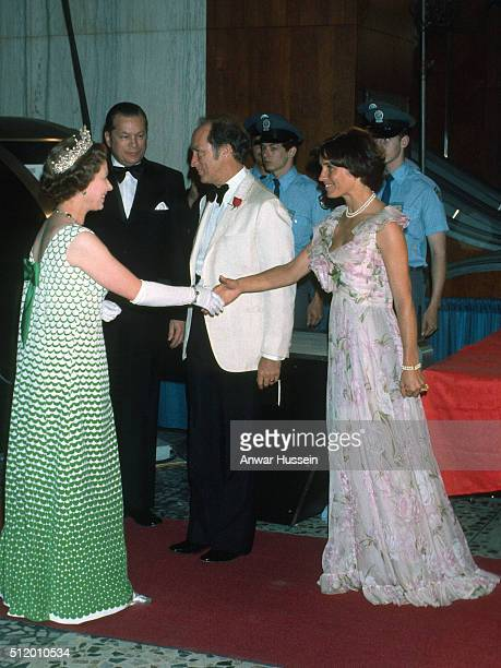 Queen Elizabeth ll shakes hands with Margaret Trudeau as she arrives at a formal event on August 01 1976 in Canada