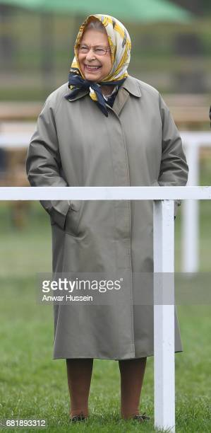 Queen Elizabeth ll smiles as she attends the second day of the Royal Windsor Horse Show on May 11 2017 in Windsor England