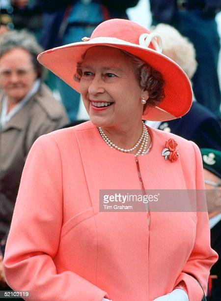 Queen Elizabeth Ll Smiling At The Veterans Gathered To Watch The British Commemorative Parade Before Attending A Service For The 50th Anniversary Of...