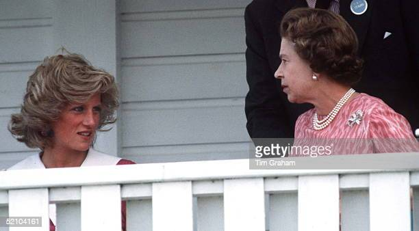 Queen Elizabeth Ll Talking To Princess Diana As They Sit Together Watching The Polo At Guards Polo Club In Windsor