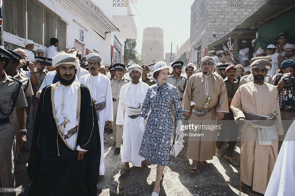 Queen Elizabeth ll touring Nizwa with Qaboos bin Said al Said, Sultan of Oman, during a state visit to Oman, 28 February 1979.