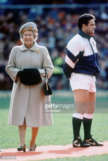 Queen Elizabeth Ll Walking Past Rugby Player Will Carling At Twickenham Middlesex