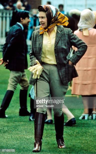 Queen Elizabeth ll walks around Windsor Horse ShowWindsorEngland wearing riding gear in May of 1988