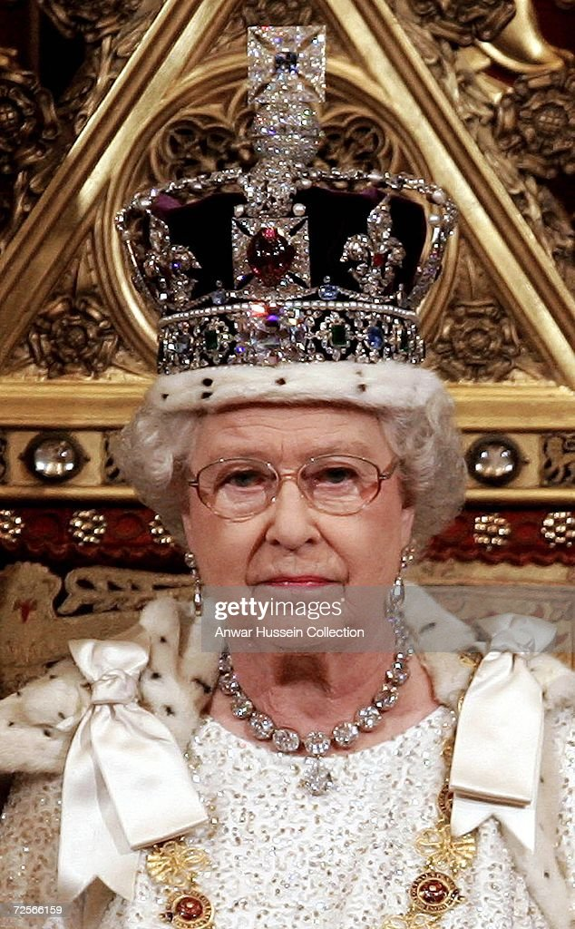 Queen Elizabeth ll wears the Imperial State Crown at the State Opening of Parliament on November 15 2006 in London England