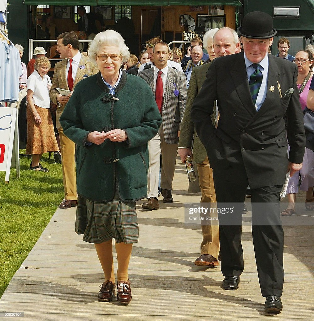 Queen Elizabeth Looks Round The Clothing Stalls On Second Day Of Royal Windsor Horse