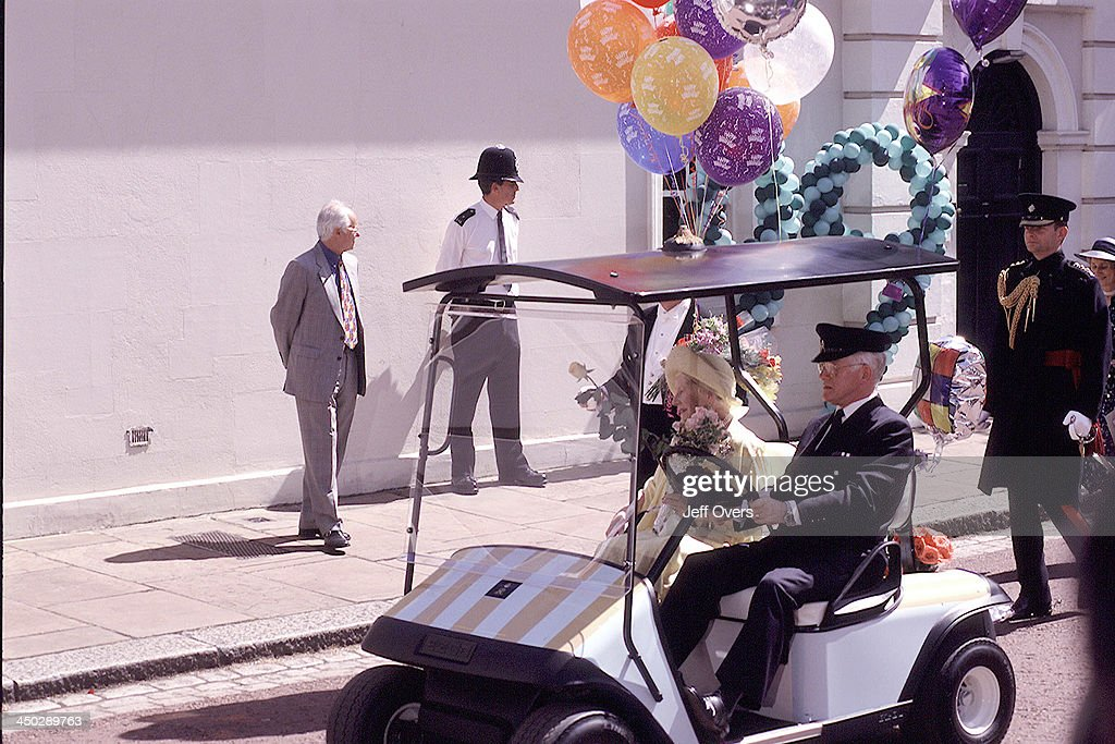 Queen Elizabeth Mother at Clarence House for 99th Birthday Celebrations, 99, driving in Buggy, cart to meet the crowds.