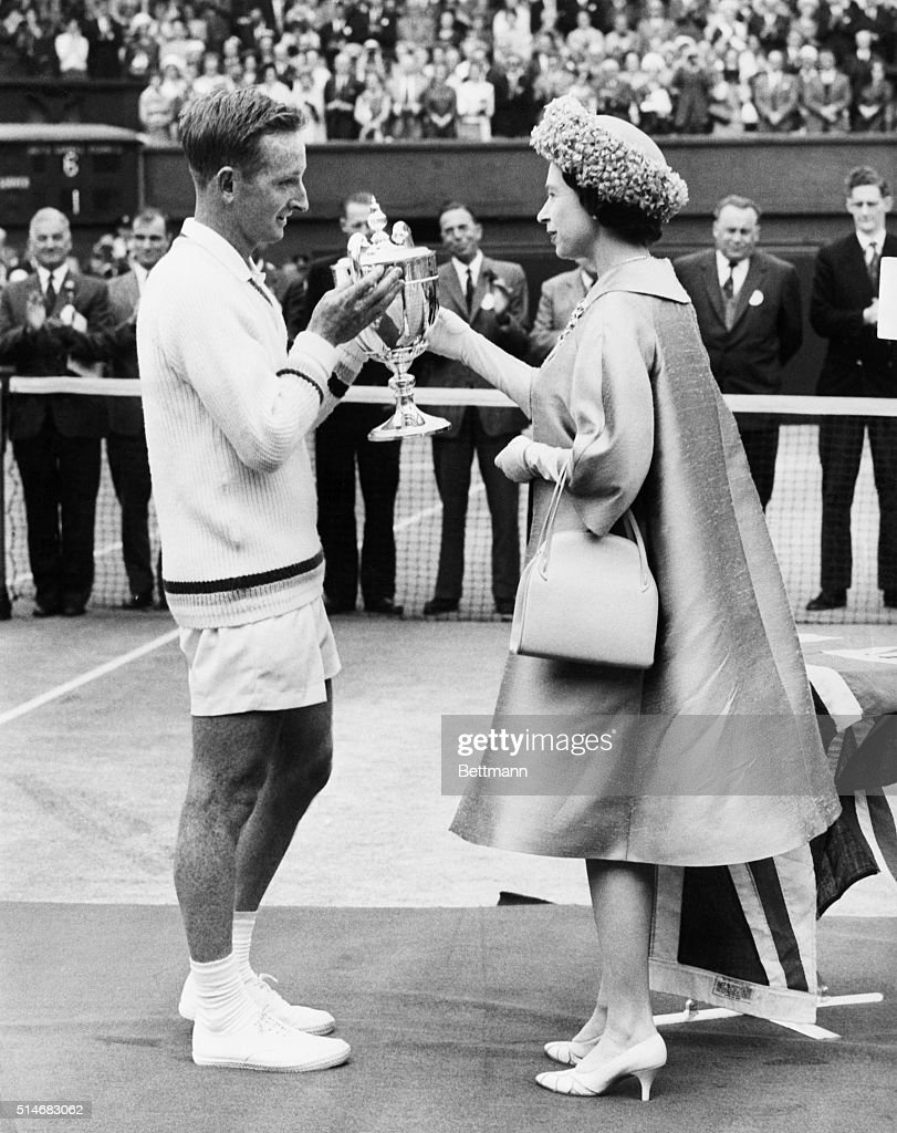 Queen Elizabeth Presenting Wimbledon Trophy