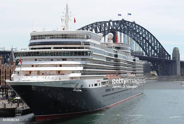 Queen Elizabeth part of the Cunard fleet of three Queens is seen in Sydney Harbour on February 28 2012 in Sydney Australia